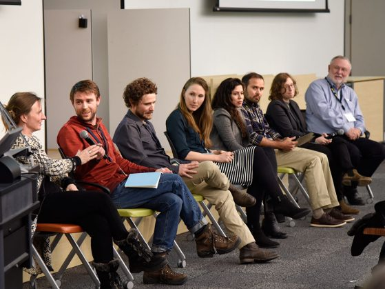 The speakers answer audience questions as a panel. Left to right: Tamsin O'Connell, Erik Van Bergen, Sean Brennan, Fiona Soper, Julia Tejada-Lara, Pete Homyak, Allison Karp, James Ehleringer.