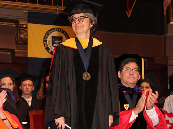 Deborah Goldberg receiving the Thurnau Professorship at the Honors Convocation. Photo courtesy of University and Development Events.