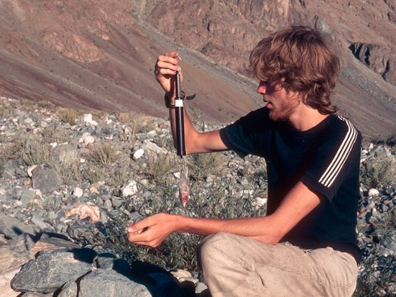 Mark Hunter studying bird migration in the Western Himalaya in 1983. Image: Ian Sleigh.