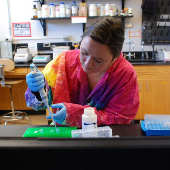 Natalie Greenhalgh works in the lab.