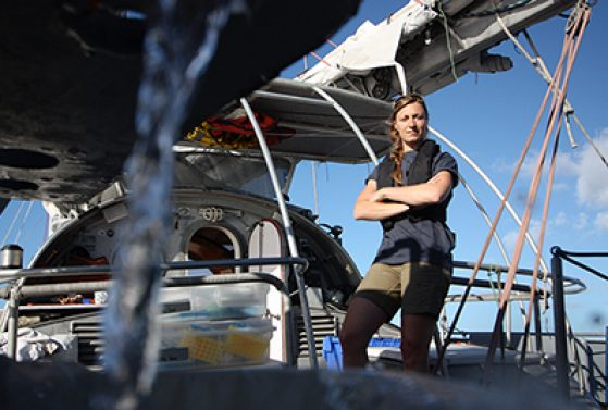 Melissa Duhaime on the Tara Oceans Expedition, traveling the Southern Ocean en route to Easter Island sampling viruses and microbes in 2011. Image credit: Anna Deniaud.