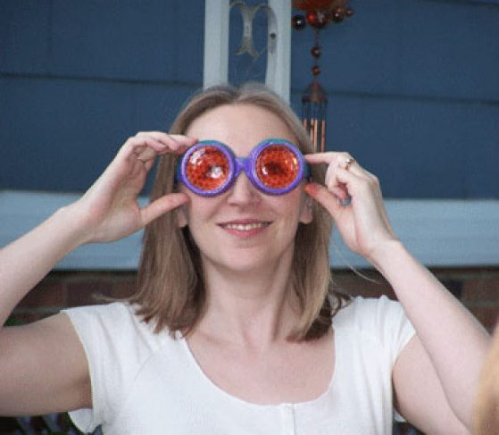 Patricia Wittkopp wearing fly vision goggles.