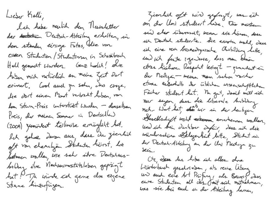 scan of Chapel's letter, April 2018