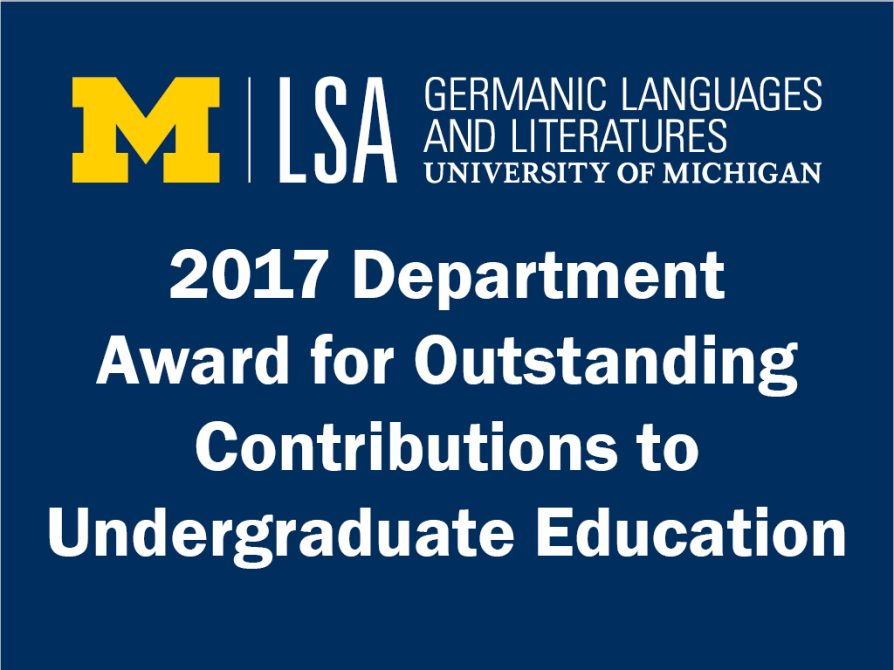 Germanic Department 2017 Department Award for Outstanding Contributions to Undergraduate Education