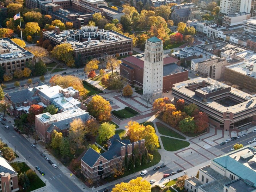 fall aerial photo of central campus