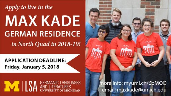 infographic for 1/5/18 deadline to apply to live in Max Kade in AY2018-19