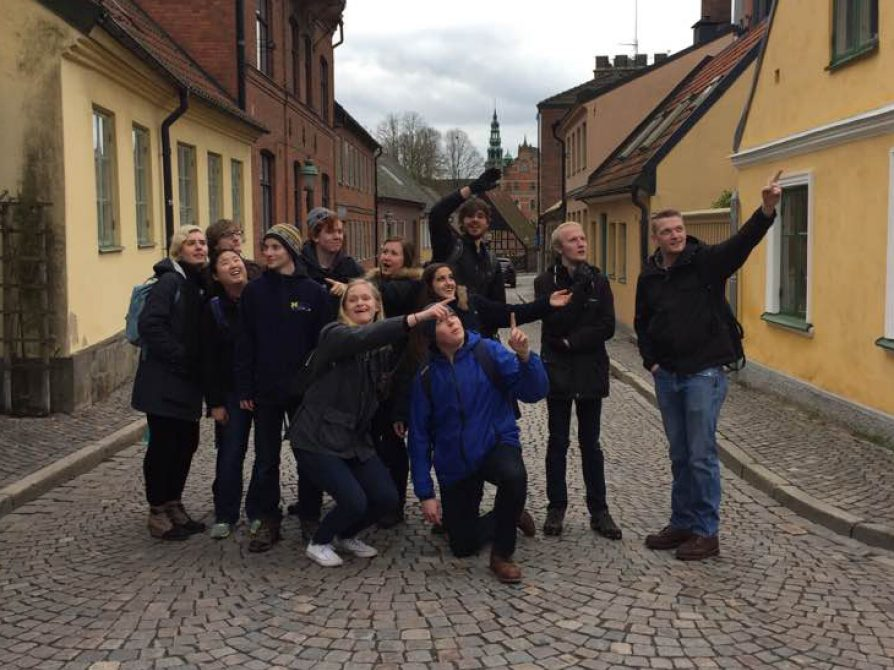 Swedish Students touring landmarks in Sweden on the Spring Break Study Tour.