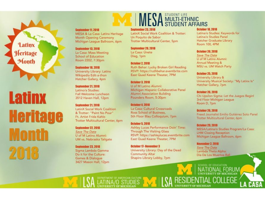 Latinx Heritage Month 2018 Calendar | U-M LSA Latina/o