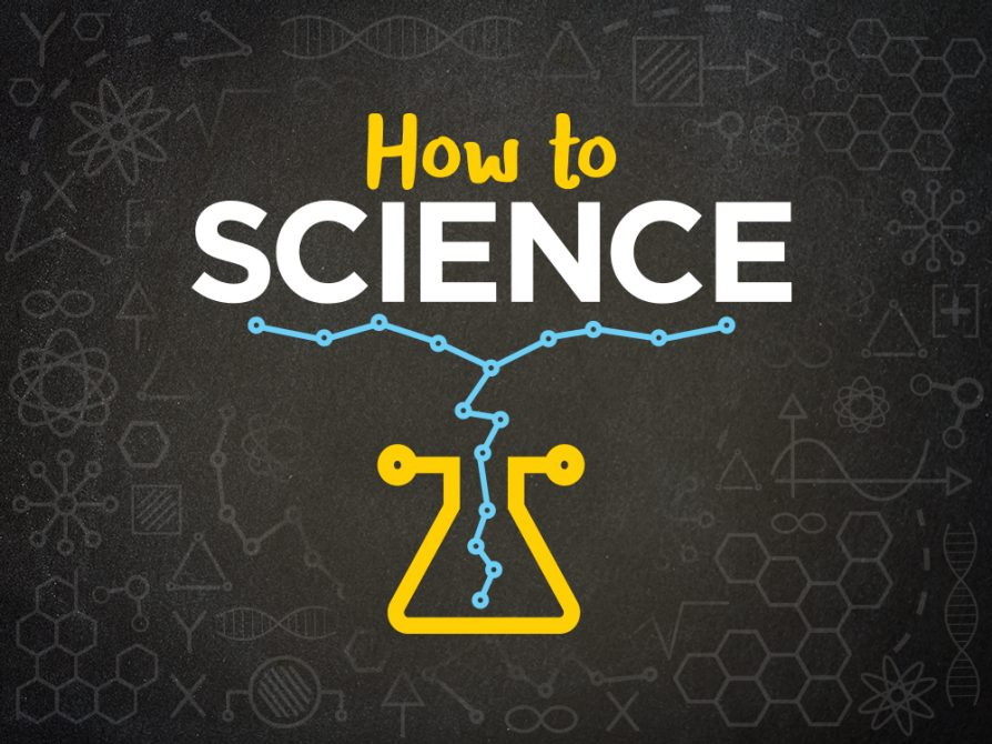 How to Science logo. How to Science written as text against a black background with mathematical and scientific illustrations in grey.