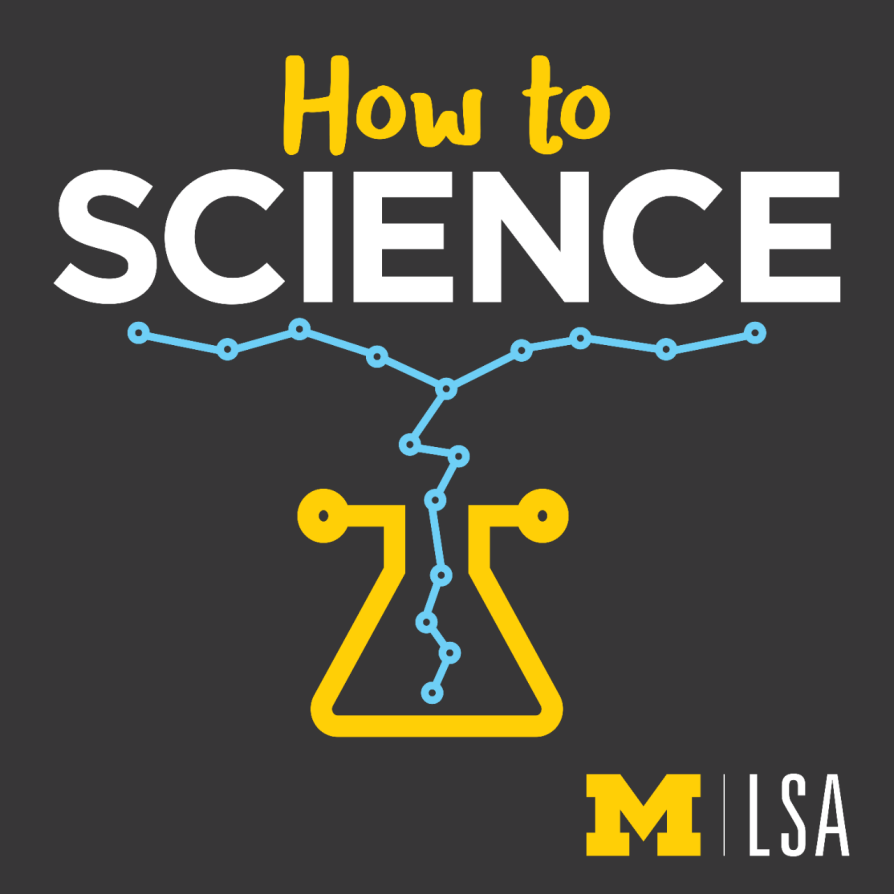 "Logo for the ""How to Science"" podcast: a stylized flask with a blue chain exploding out the top, on a black background covered with faded sketches of science symbols"