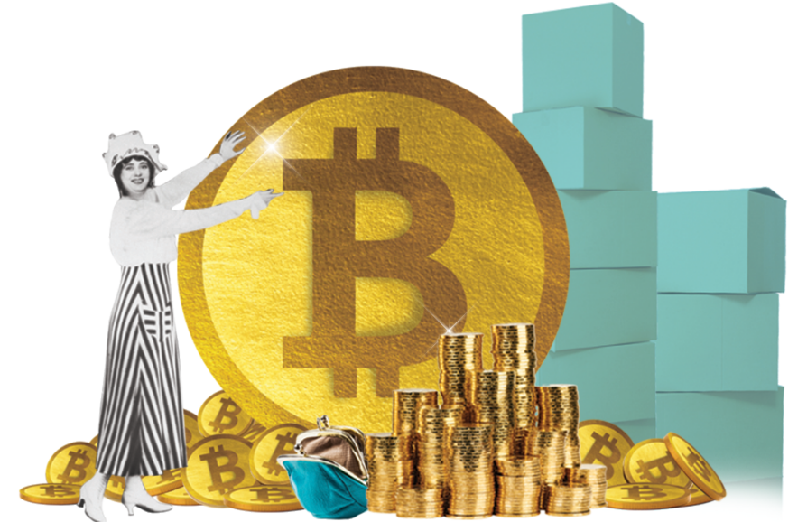A black-and-white period image of a woman points like Vanna White to a giant golden Bitcoin. She's surrounded by stacks of Tiffany's-blue boxes and piles of Bitcoins.