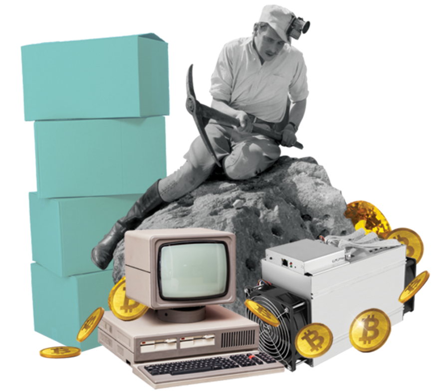 A black-and-white image of a miner sitting on a rock with a pickaxe is surrounded by obsolete computer hardware, a stack of Tiffany's-blue boxes, and Bitcoins.