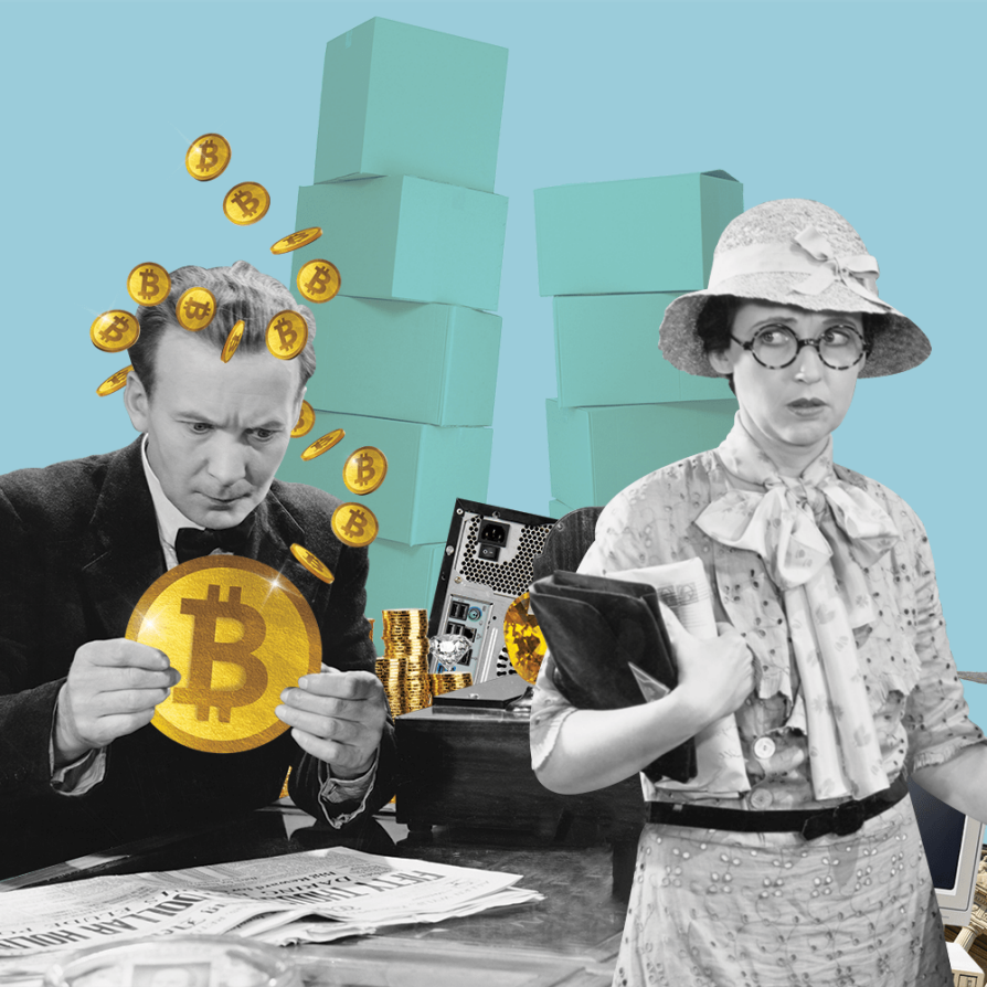 Black-and-white period images of a man and women are in the foreground, in front of a Tiffany's-blue background that includes stacks of unmarked boxes that look like they could hold fancy clothes. The man gazes greedily at a gold Bitcoin, with smaller gold coins floating around his head; the women looks at him over her shoulder with a worried expression.