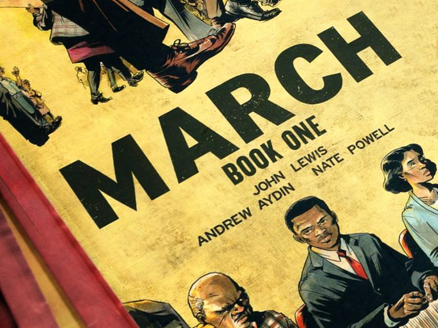 A partial cover of March, Book One, written by John Lewis, Andrew Aydin, and Nate Powell.  The fragment is cropped at an angle, and the top shows shoes and pant legs and the bottom shows three people looking in different directions.