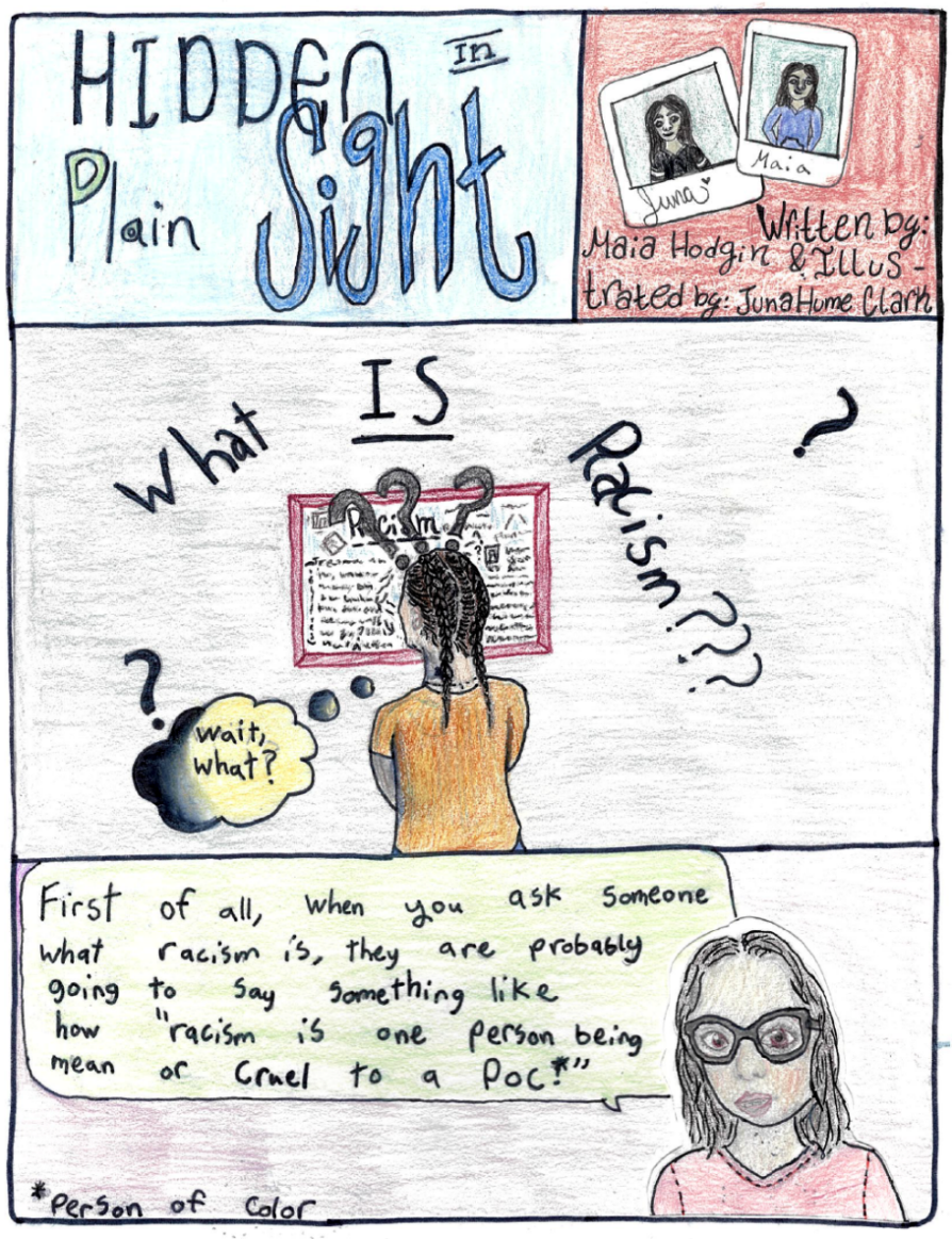 Panels drawn with colored pencil. Hidden in Plain Sight is in the upper left; author illustrations are in the upper left. Middle panel says What IS Racism, and shows a girl from behind reading something on a wall. The bottom panel has an illustration of a girl wearing glasses and a dialogue bubble.