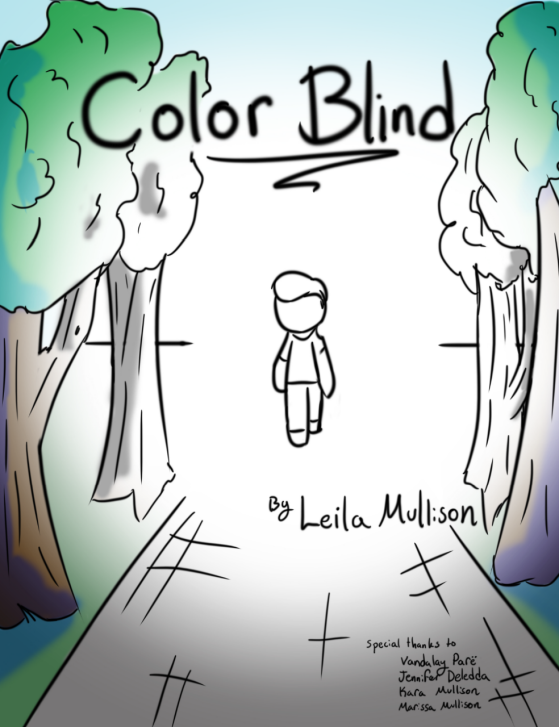 A sketch of a child walking on a sidewalk that leads into trees, as in a park. The center of the image is black and white, and shifts into color at the edges.