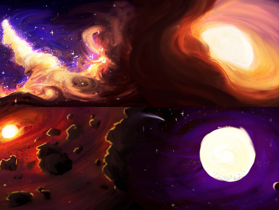four portraits of stars in different states of evolution; the top left has a billowing orange cloud under a blue, starlit sky; the top right is a glance down an orange tunnel with a bright white circle at its center; bottom right is a white circle surrounded by dark purple, which is surrounded by black; and the bottom left has a red and black surface that is pocked by black craters