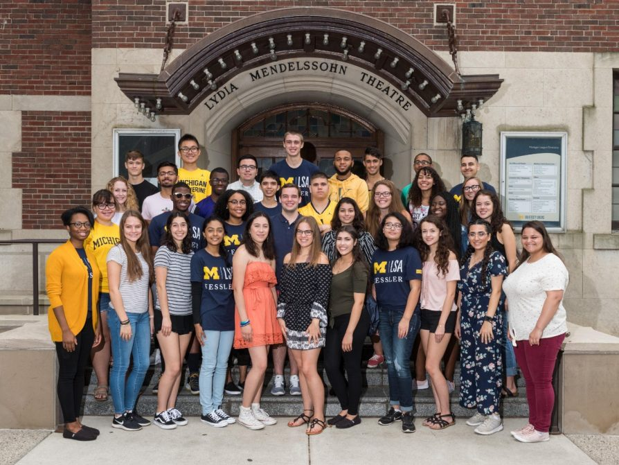 A photograph of the fall 2018 incoming class of 36 Kessler Scholars posing on the Lydia Mendelsohn Theater steps.