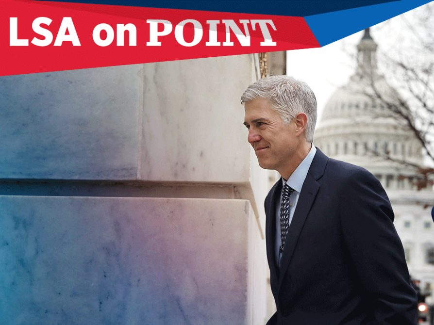 Photograph of Supreme Court nominee Neil Gorsuch taken from his left while he is walking into a building. There is a view of the U.S. capitol dome in the background behind him. A banner that says On Point runs across the top of the image.