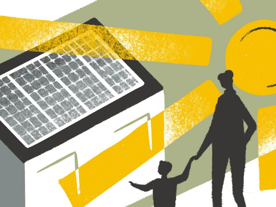 An illustration that shows an abstract house with solar panels and an enormous abstract sun whose rays extend in all directions. A silhouette of a woman and a child holding hands is in the lower right-hand corner.