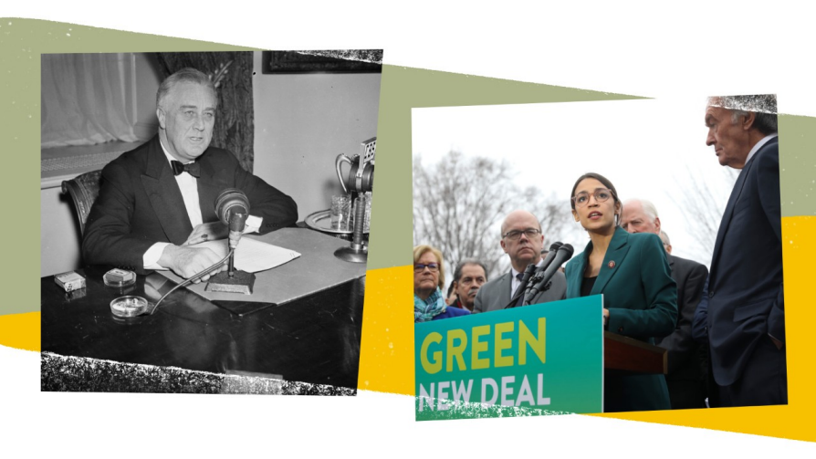A composite of two photographs. On the left, Roosevelt is sitting behind a desk speaking into a microphone. There is a pack of cigarettes to his right and an ashtray. The right side of the image shows Alexandria Ocasio-Cortez speaking into a microphone behind a banner that says Green New Deal. People are standing around her.