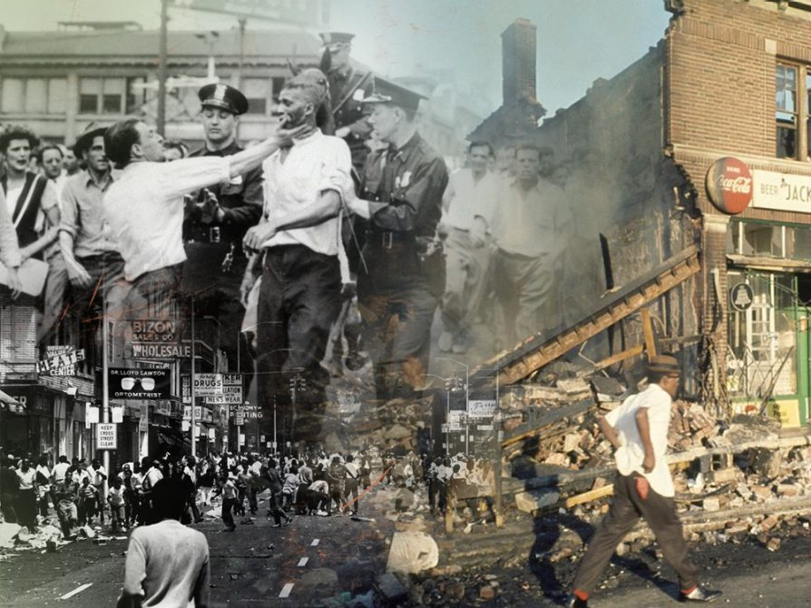 A collage of photographs of the Detroit riot. The top left corner shows a black man being held by two white policemen. This image fades into a color image a half-destroyed bricked building and a man walking past it in the street. The third image is a black-and-white photograph of hundreds of people in the street.