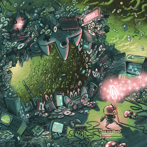 An illustration of a video game in which the character forges into a landscape of CD-roms and cords and old video arcade games. She carries a pink scepter that send pink light above and in front of her.