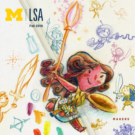 LSA Magazine Spring 2018 cover An illustration depicting a stack of colored text bubbles containing symbols and designs. Two figures are scaling the stack; another kneels before it. Two figures point to the same text bubble as if they are collaborating to decode it. At the very top a woman holds a text bubble that says hello.