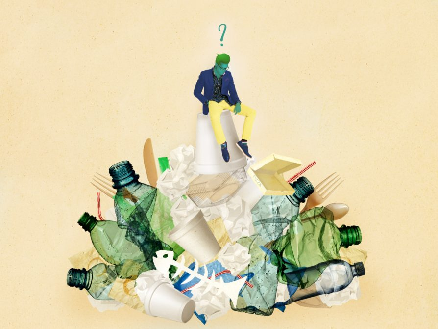 An illustration of a man sitting atop a heap of trash and recycling -- plastic bottles, fish skeletons, forks, and crumpled papers. The man is looking down at the heap, and there is a question mark over his head.