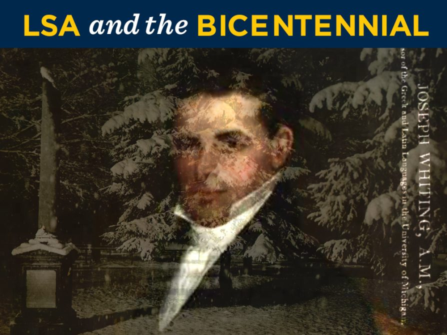 A portrait of Professor Joseph Whiting flagged as U-M bicentennial
