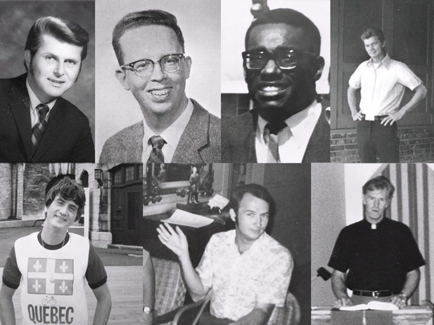 "A composite of portrait photographs. Beginning clockwise from top left: Horace ""Skip"" Getchell, Dr. Perry Waters, Reginald ""Reggie"" Adams, Leon Richard Maples, Pastor Bill Parson, Horace Broussard, George Stephen ""Bud"" Matyi"