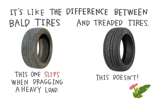It's like the difference between bald tires and treaded tires. A bald tire slips when dragging a heavy load. A treaded tire doesn't!