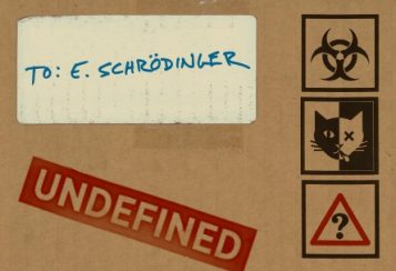 Cover of LSA magazine design as a box being mailed to E. Schrodinger