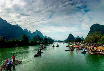 Bamboo rafts on the Yulong River in Yangshuo County, Guilin, China