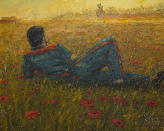Prisoner on a Field of Flowers, Oliger Merko, oil on canvas, 2017
