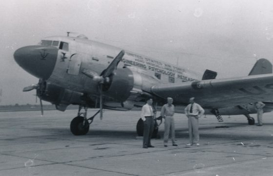 Paul M. Fitts (left), Wright Patterson Air Force Base in Dayton OH in the late 1940s