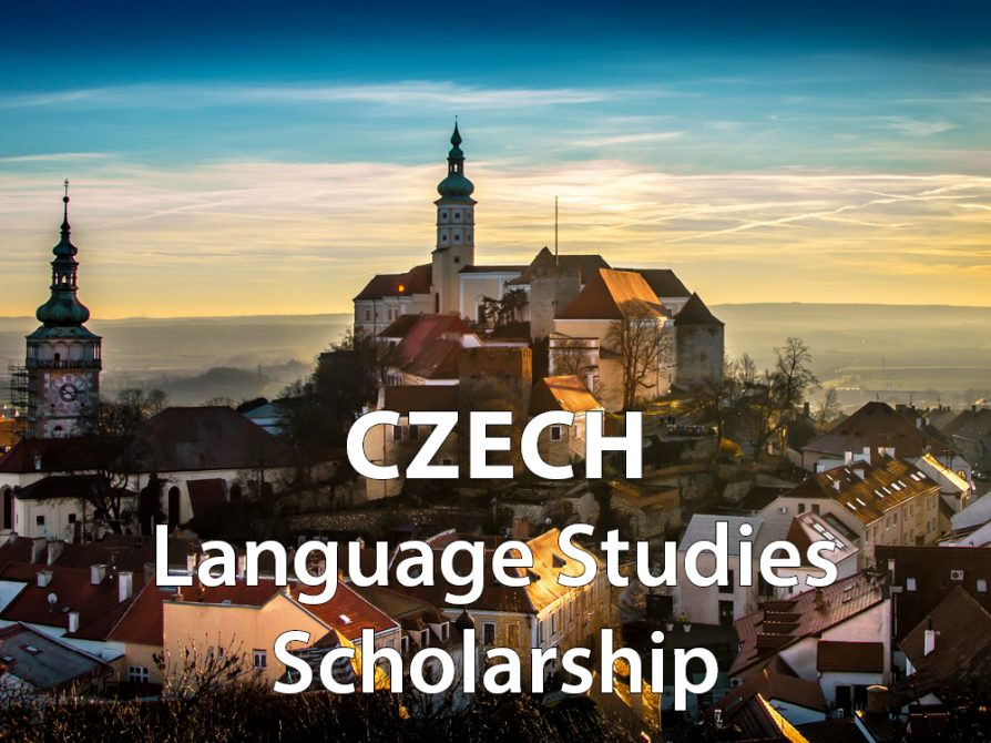 "decorative image: Prague, Czech Republic, with words ""Czech Language Studies Scholarship"" written on it"