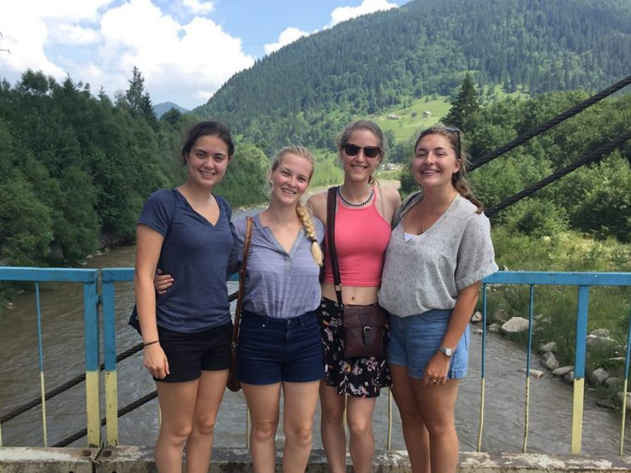Tara Bayer (2nd from left) with roommates in Ukraine