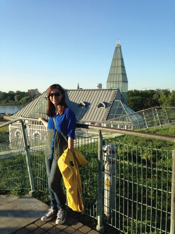 Theresa Dowker at the rooftop garden on top of the University of Warsaw's library, July 2016.