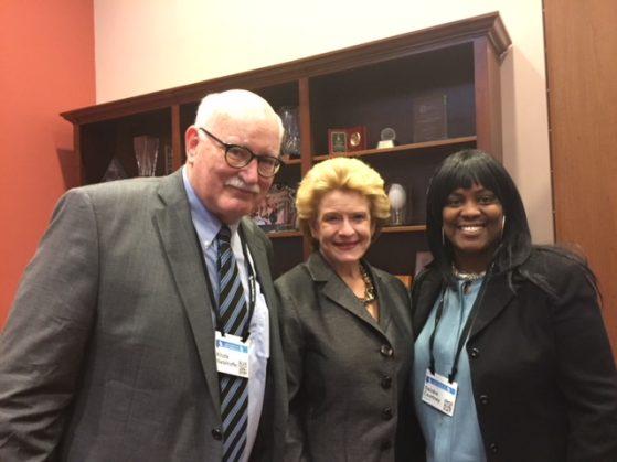 L-R, Nadelhoffer, Senator Stabenow, and Courtney at the CCL Conference and Lobby Day in Washington, D.C.